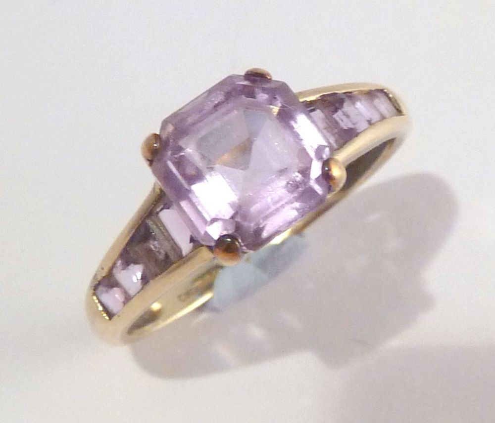 9ct Gold Emerald Cut Amethyst Ring